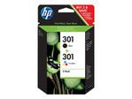Cartouche d'encre HP HP 301 - pack de 2 - noir, couleur (cyan, magenta, jaune) - originale - cartouche d'encre