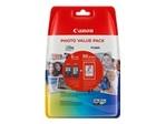 Papier standard CANON Canon PG-540 XL/CL-541XL Photo Value Pack - pack de 2 - à rendement élevé - noir, couleur (cyan, magenta, jaune) - 50 feuille(s) - 100 x 150 mm - jeu de papier / cartouche d'encre