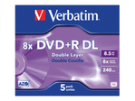 CD/DVD VERBATIM Verbatim - DVD+R DL x 5 - 8.5 Go - support de stockage