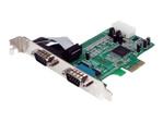 Carte réseau PCI-e StarTech.com Carte PCI Express avec 2 Ports DB-9 RS232 - Adaptateur PCIe Série - UART 16550 - 1x PCI Express Mâle - 2x RS232 DB-9 Mâle