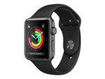 Objet connectés APPLE Apple Watch Series 3 (GPS) - espace gris en aluminium - montre intelligente avec bande sport - noir - 8 Go