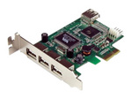 Carte réseau PCI-e StarTech.com Carte Adaptateur PCI Express vers 4 Ports USB 2.0 - Carte PCIe - 3x USB A Femelle - 1x USB A Femelle Interne - 1x SP4 Mâle