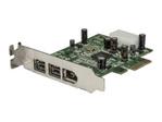 Carte réseau PCI-e StarTech.com Carte Adaptateur PCI Express vers 3 Ports FireWire - Faible Encombrement - 1xFireWire 400 1394a - 2xFireWire 800 1394b