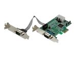 Carte réseau PCI-e StarTech.com Carte PCI Express à Faible Encombrement avec 2 Ports RS232 - Adaptateur Série - UART 16550 - 1xPCI Express Mâle - 2xDB-9 Mâle