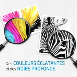 consommable et encres HP avec couleurs vives et noires profondes